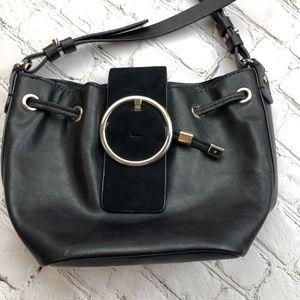 ZARA Basic Black Bucket Bag Vegan Leather Purse